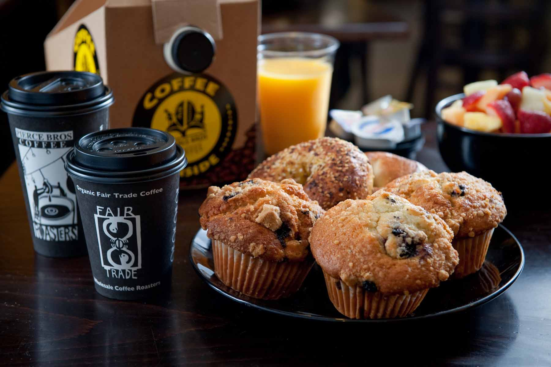 muffins, juice and coffee