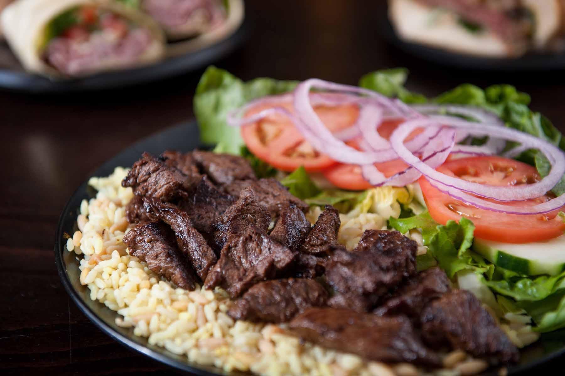Steak Tips over Rice Pilaf